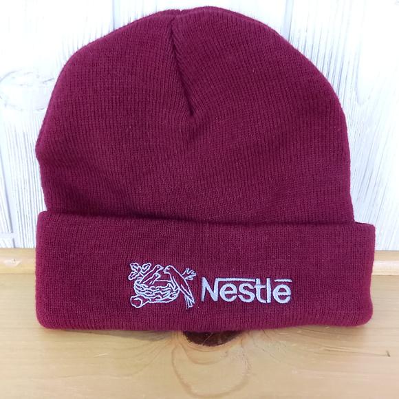8a7ca37c6 Nestle Maroon & Gray Winter Hat ~ Advertising Logo